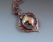 SALE- 10% off- Fordite- Gorgeous Shimmering Colors- Michigan Made- Copper Fordite Pendant
