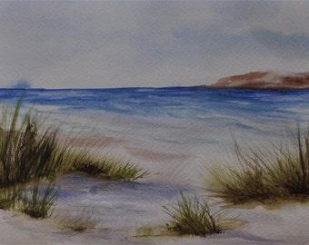 Beach painting original ocean art,  beach watercolor painting, coastal art