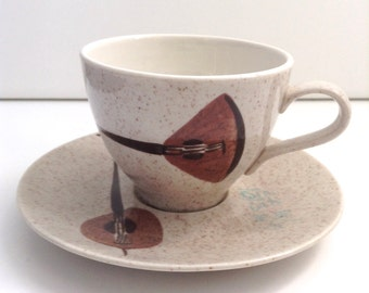Red Wing Lute Song Cup & Saucer.  Hollywood Regency,  Mid century modern, Danish Modern, Eames era. Deco 1950's.