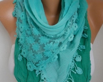 Mint Ombre Cotton Scarf , Fall Scarf, Oversized Wrap Shawl Cowl Bridesmaid Gift Gift Ideas for Her Women Fashion Accessories Women Scarves