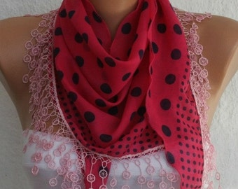 Pink & Black Polka Dot  Cotton Scarf,Fall Fashion ,Necklace,Shawl, Cowl Scarf,Gift Ideas For Her, Women Fashion Accessories