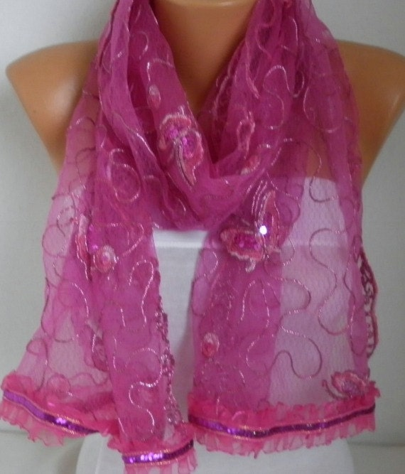 Hot Pink Butterfly Sequin Scarf,Wedding Scarf, Cowl  Bridesmaid Gift Gift Ideas For Her Women's Fashion Accessories