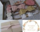 Headband Gift Box Set - Vintage pink, Gold White - Set of 5 Headbands - Wool Felt Flowers- Wool Felt Bows and Glitter Bows - Baby Shower Box