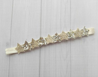 Mini Gold and Silver Mix Glitter Star Headband -Star Garland- Newborn Baby to Adult -4th of July Headband - Glitter Headbands