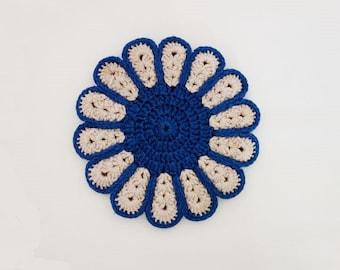 Vintage Handmade Crocheted Pot Holder Flower