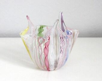 MOVING SALE Murano Handkerchief Glass Vase Zanfirico, Fratelli Toso Fazzoletto Glass Vase