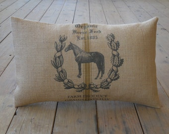 Feedsack horse  Burlap Pillow, Lumbar 13 x 21, Shabby Chic, Farmhouse Pillows, INSERT INCLUDED