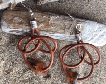 Leather and sea glass earrings
