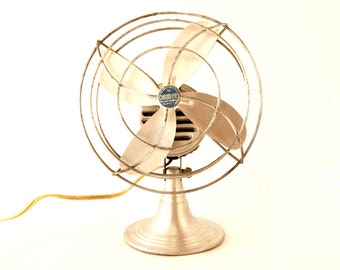 """Vintage Industrial Chrom-Ever Fan, 8"""" Silver Aluminum Blades (c.1950s) - Collectible Open Cage Fan, Industrial Office Decor"""