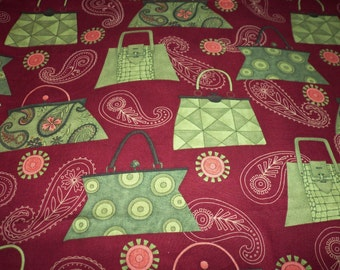 Handbags Fabric Burgundy Lime Green Pink  New By The Fat Quarter