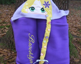 Long Haired Princess Hooded Blanket Personalized