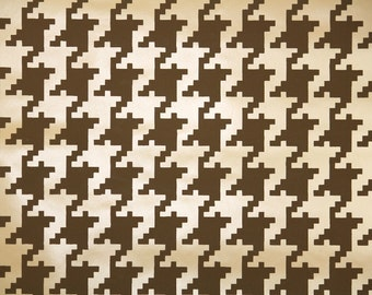 Retro Wallpaper by the Yard 70s Vintage Wallpaper - 1970s Vinyl Brown and Tan Houndstooth Geometric