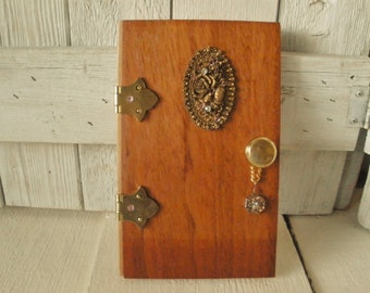 Wood fairy elf door upcycled vintage findings magic fantasy wall art