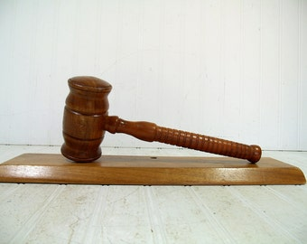 Large Wooden Gavel with Platform Mid Century Hand Turned Auctioneer / Judge / Lawyer Gavel Balance Weighted Hand Crafted Wooden Court Mallet