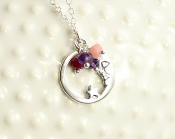 Sterling Silver Moon and Birthstone Necklace.... Choose up to 4 birthstones...