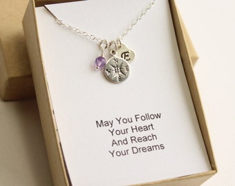 Sterling Silver Follow Your Heart Compass Necklace -- Choose Your Initial and Birthstone