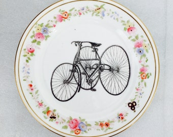 Bicycle Plate Black with Pink Yellow Blue flowers Vintage china Cycling Bike Wall Display Plate Collage