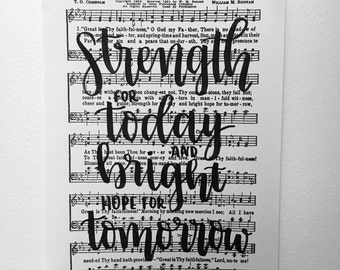 Great isThy Faithfulness Handlettered Hymn - Strength for Today and Bright Hope for Tomorrow
