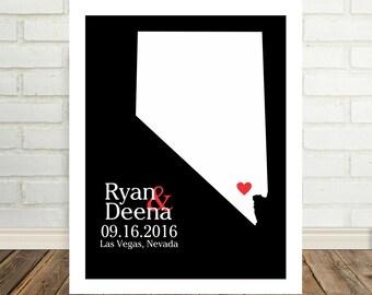 Nevada Map Nevada Wedding Neavda Poster Nevada Print Las Vegas Wedding Personalized State Map Art State Map Prints Valentines Day Gift