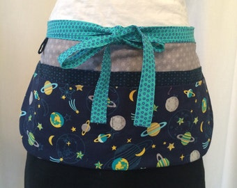Utility Apron/Teacher Apron with 8 pockets and loop in solar system fabric navy blue yellow grey