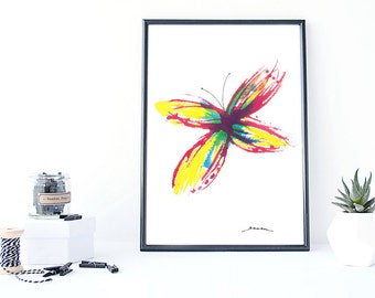 BUTTERFLY Art print, watercolor painting, handmade, wall decor, wall art