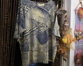 Bohemian Unisex Stonewashed Blue-Jeans Influenced Printed Cotton Top / Tunic, Vintage - Large to XLarge