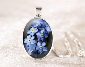 Forget Me Not Silver Necklace - Sterling Silver Flower Necklace, Genuine Silver Flower Jewelry, Blue Forget-Me-Not Jewelry Pendant
