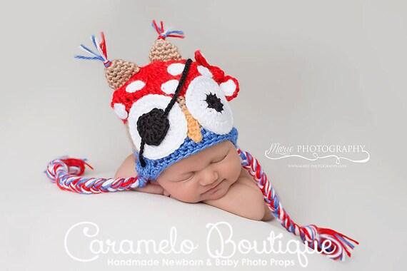 Baby Boy Pirate Owl Hat-Crochet Owl Pirate Hat-Baby Boy Photo Props-Newborn Photo Props-Crochet Newborn Pirate Owl Hat-Crochet Baby Owl Hat