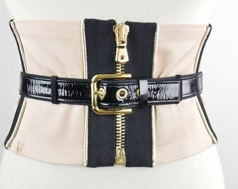 Vintage Adjustable  DOLCE & GABBANA Corset Color Block  Tie Belt Nude and Black Patent Leather Size 44 Adjustable