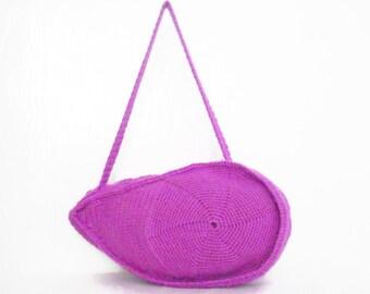 SALE DISCOUNT Purple  color Crocheted Handbag afghan crochet pink bag spring fashion