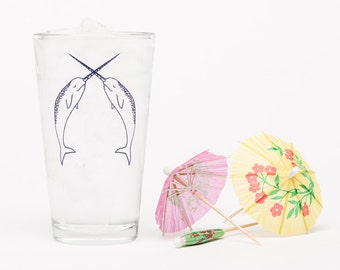 Narwhal Pint Glass - Unicorn of the sea - Glassware  - Beer Glass - Barware - Screen Printed - Made in USA