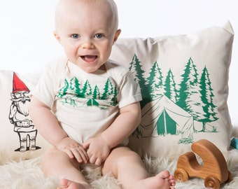 Baby Shower Gift - Baby Bodysuit - Screen Printed Baby Onesie - Camping - Mountains - Infant - Camp Fire - Tent - Newborn One piece