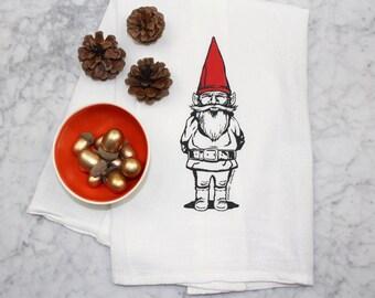 Gnome Sweet Gnome - Kitchen Towel - Screen Printed - Cotton Flour Sack Tea Towel - Eco-Friendly Kitchen Towel - Garden Gnome Decor