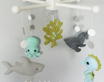 Baby Crib Mobile-Sea Animals Mobile-custom Made Mobile-shark baby mobile - Sharks seahorse and octopus mobile