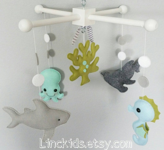 Baby crib mobile sea animals mobile custom made mobile shark for Sea animal baby mobile