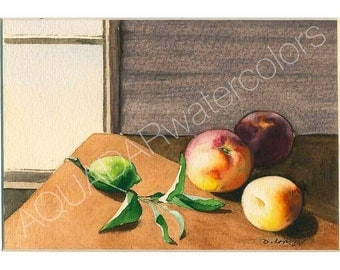 """READY TO SHIP Original Watercolor Painting """"Still life with peaches"""" Fruit Wall Art Home Decor Kitchen Decor Decorative Art Framed"""