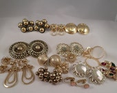 RESERVED FOR OLGA****Gold Tone Jewelry Lot, Jewelry Lot, Jewelry Destash, Craft supplies, Gold Earrings, Vintage Earrings,