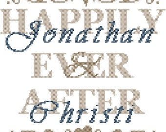 Happily Ever After Cross Stitch Pattern/Modern Wedding Cross Stitch Pattern/Cross Stitch Wedding/Modern Wedding/Counted Cross Stitch/PDF