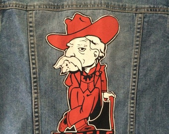 Ole Miss Rebels patch denim jacket OOAK University  of Mississippi