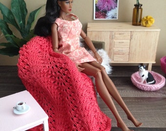 1:6 scale Delicate Lace-Knit Throw Blanket in Coral for Diorama or Dollhouse