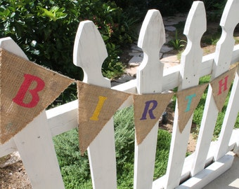 SALE! Birthday Girl Banner Reversible to Polka Dots | Burlap Birthday Banner | Birthday Sign
