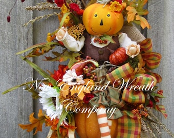 Fall Wreath, Fall Swag, Autumn Décor, Harvest Wreath, Halloween Swag, Thanksgiving Swag, Whimsical Fall Wreath, Pumpkin Wreath