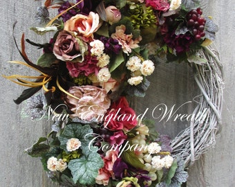 Victorian Wreath, Designer Floral Wreath, Summer Wreath, Tuscany Wreath, Elegant Wreath, Luxury Wreath, Fruit Wreath, Victorian Garden