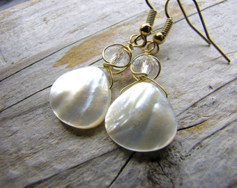 white pearl earrings bridesmaids mother of pearl teardrop faceted crystal dainty lovely wedding jewelry
