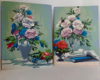 Vintage Paint By Number Pair Carnations Still Life Mid Century Cottage Decor Unframed