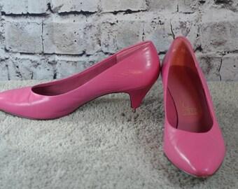 vintage 1980s Joyce pink leather pumps heels 7.5M