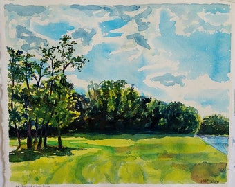Mill Pond Treeline, original watercolor, greens, blues, water, sky, clouds, bright landscape, ooak, sunny day, Michigan landscape