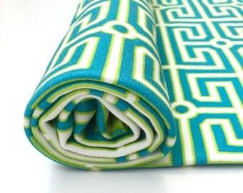 Greek Key Organic Cotton Swaddle Blanket, Teal Newborn Blanket + Hat, Nursing Cover, Geometric Stroller Blanket, Blue Green Baby Shower Gift