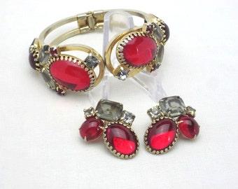JULIANA Rhinestone Bracelet Set - Red Clamper Bracelet - Hinge Bracelet - Juliana Earrings Set - Juliana Jewelry