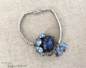 Repurposed Blue Rhinestone Bracelet - Repurposed Rhinestone Watch Band Bracelet - Unique Repurposed Jewelry